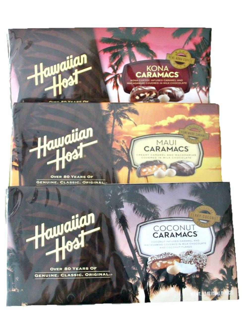 Hawaiian Host Caramac Variety 3 Pack (Maui Caramacs, Kona Caramacs, Coconut Caramacs)