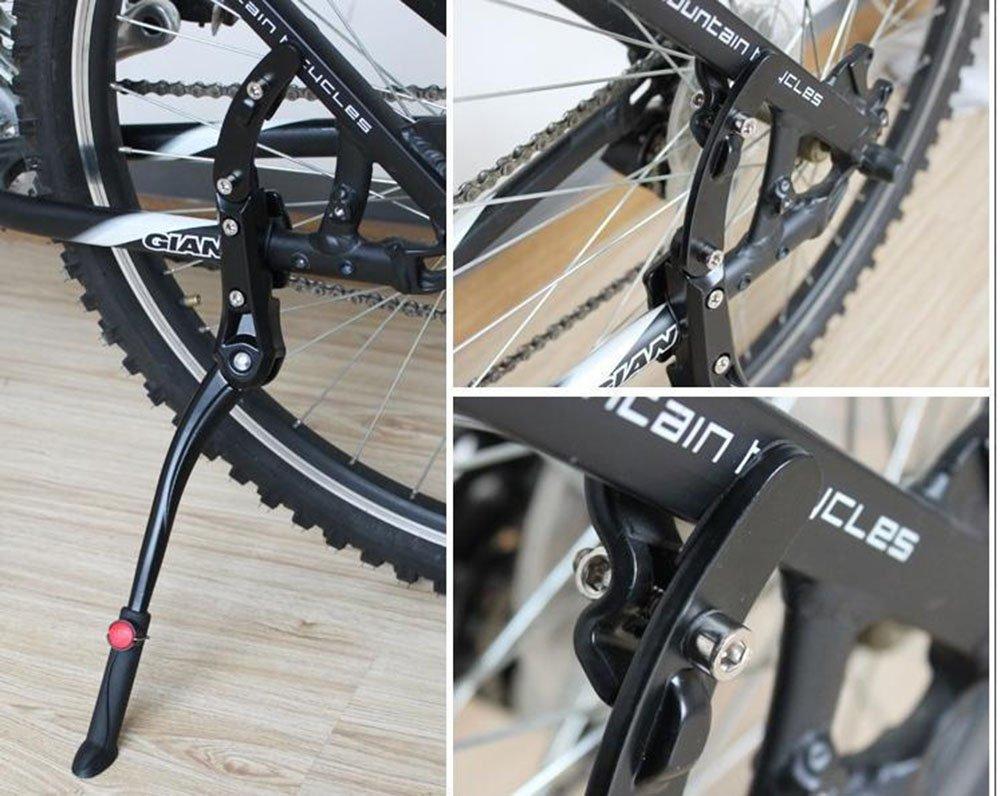 Aleaci/ón de aluminio Ajustable Kickstand de bicicleta MINGZE Pata de Cabra para Bicicleta Mountain Bike se adapta a 24-28 pulgadas Bicicletas
