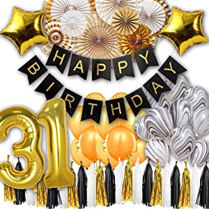 31th Black white and Gold Party Decorations Happy Birthday Banner Star Foil Balloons