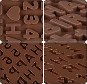 Bulckrew 4 Pack Chocolate Molds Letter Number Animal Emoji Silicone Break Apart Food Grade Soft Candy Tray with Happy Birthday Cake Decorations For Birthday, Festival, Wedding, Parties, DIY