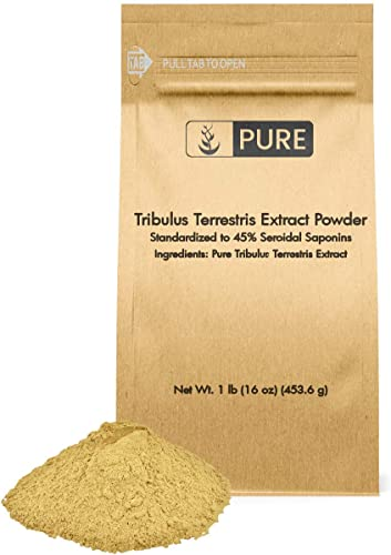 100 Pure Tribulus Terrestris Extract Powder, 1 lb, 45 Steroidal Saponins, Vegetarian, 450 Servings, Gluten-Free, Non-GMO, Made in USA, Naturally Sourced, Unflavored, Undiluted, Additive-Free