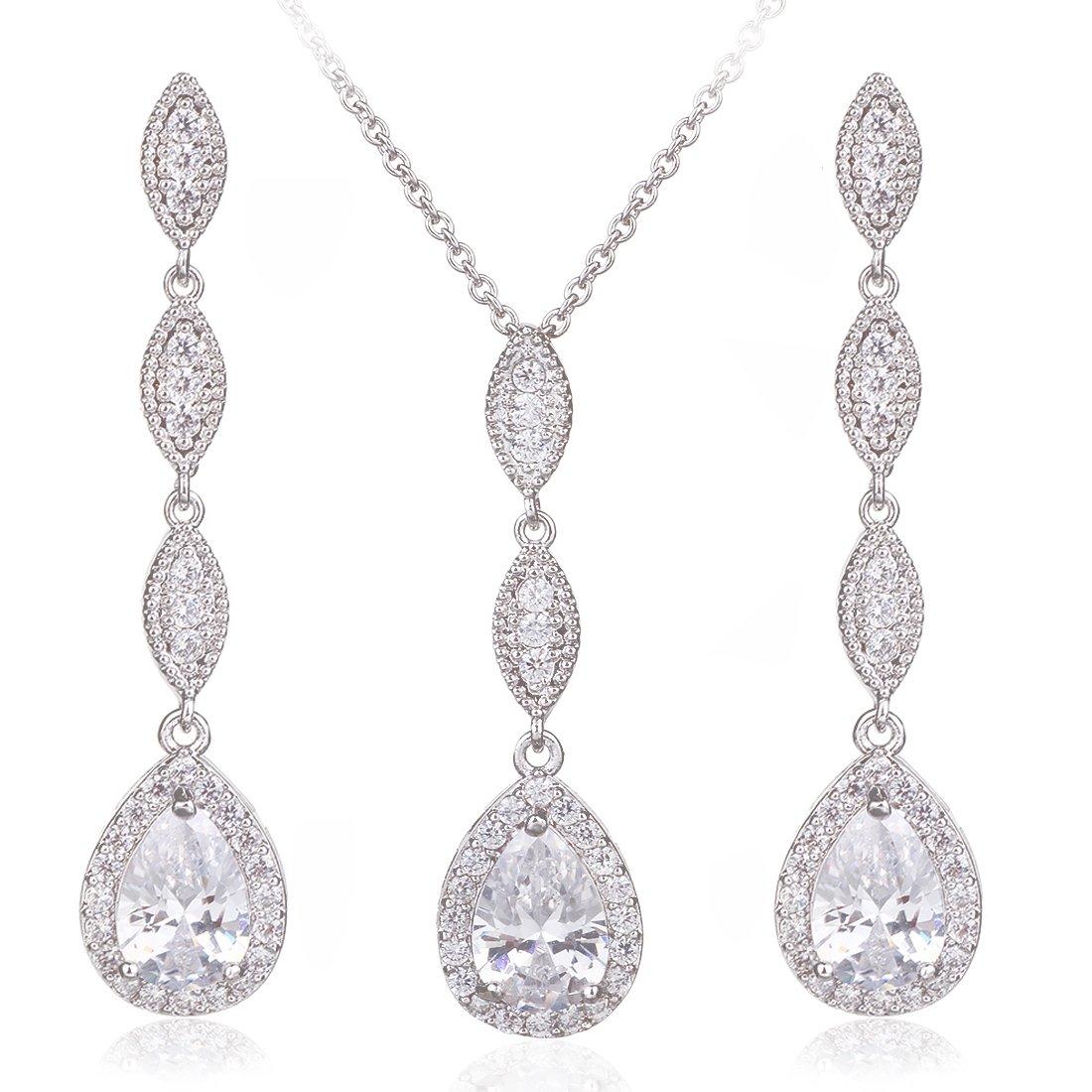 Wordless Love Teardrop Pear Shape CZ Necklace Pierced Earrings Women Wedding Jewelry Sets by Wordless Love