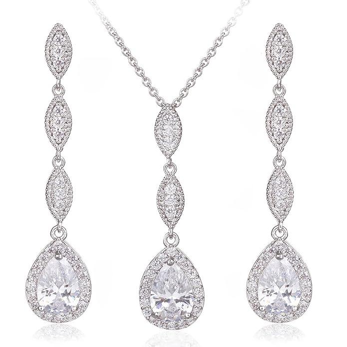 Wordless Love Teardrop Pear Shape CZ Necklace Pierced Earrings Women Wedding Jewelry Sets: Amazon.co.uk: Jewellery