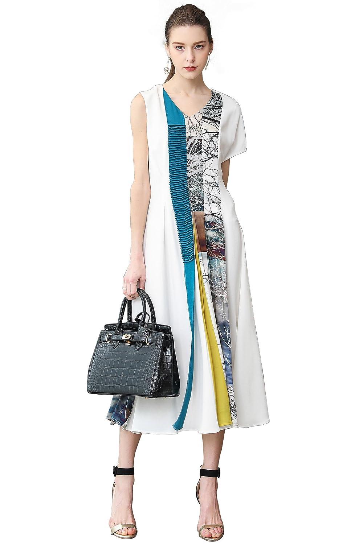 18f2890d0eb Amazon.com  VOA Heavy Silk Long Swing Dress Women Plus Size White Party  Dresses 5XL Vintage Chinese Print V Neck Brief Slim Summer A368  Clothing