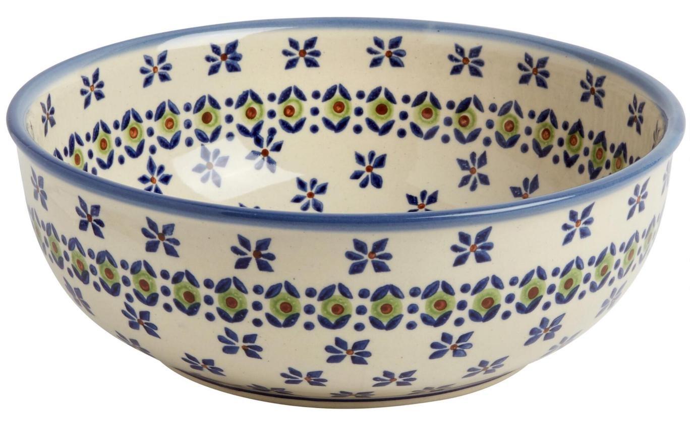 "Polish Pottery Olive Flower Round Mixing Bowl, 8.25"" Diameter (42-oz. Capacityi)"