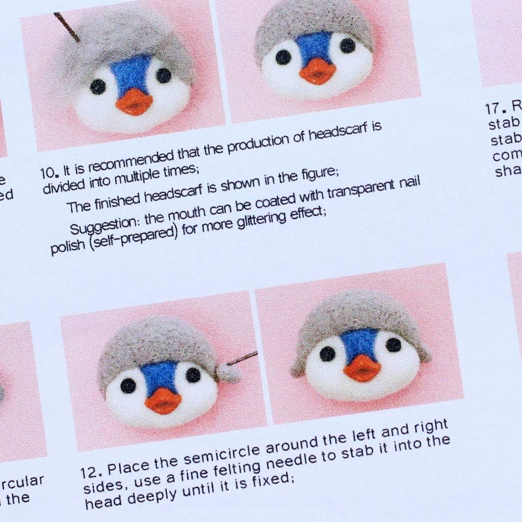 ZHENXI Penguin Wool Felt Crafts DIY Unfinished Poked Set Handcraft Needle Material Bag Wool Felting Supplies