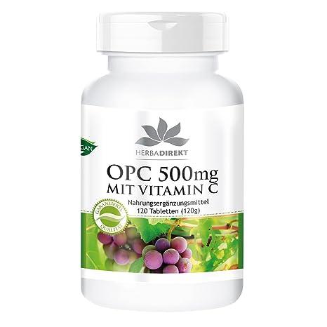 OPC 500mg + Vitamina C - Herbadirekt - 120 pastillas – artículo vegano