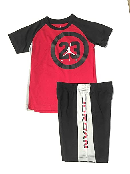 276ca91aa47 Amazon.com: Jordan Air 23 Logo Little Boys T-Shirt and Shorts Set Black/Red  Size 4: Sports & Outdoors