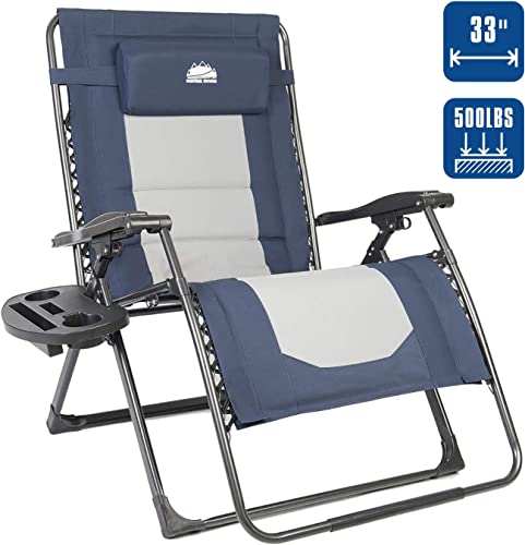 Coastrail Outdoor Oversized Zero Gravity Chair Padded XXL Folding Patio Lounge Adjustable Recliner with Cup Holder Side Table, 500lbs Weight Capacity, Blue Gray