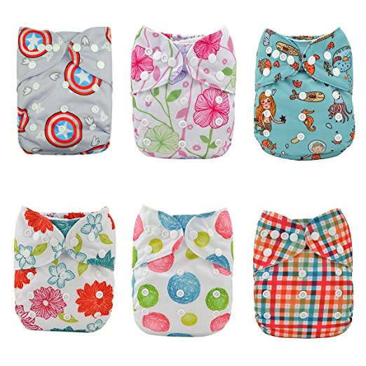 Alva Baby Reuseable Washable Pocket Cloth 6 diapers