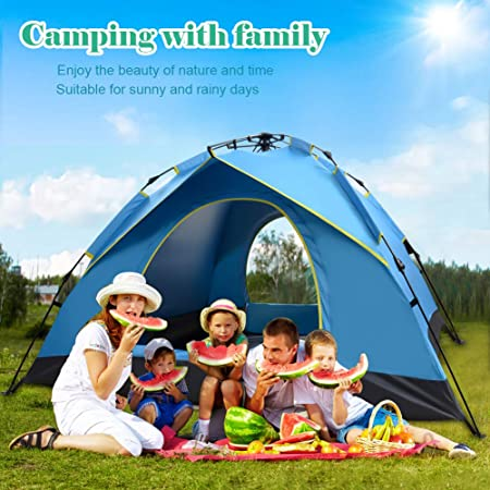 Tents for Camping 3- 4 Person ,Instant Pop Up Tents for Camping, Beach Tents for Family,Folding Waterproof Tent for Outdoor Camping