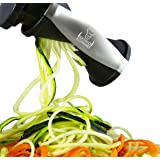 Kenko Cuisine Vegetable Spiralizer, 4-in-1 Veggie Noodle Maker, Ceramic Julienne Vegetable Peeler, Large Size Veggie Slicer, Black