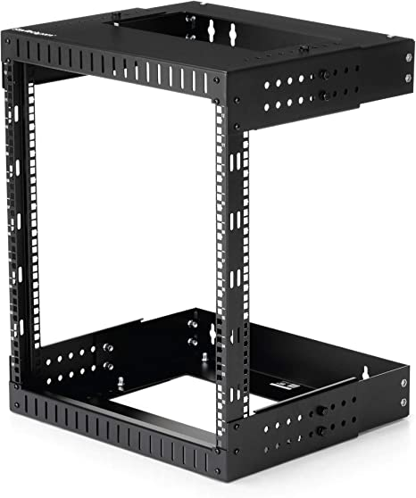 Amazon Com Startech Com 12u 19 Wall Mount Network Rack Adjustable Depth 12 20 2 Post Open Frame Server Room Rack For Av Data It Communication Computer Equipment Switch W Cage Nuts Screws Rk12walloa Computers Accessories