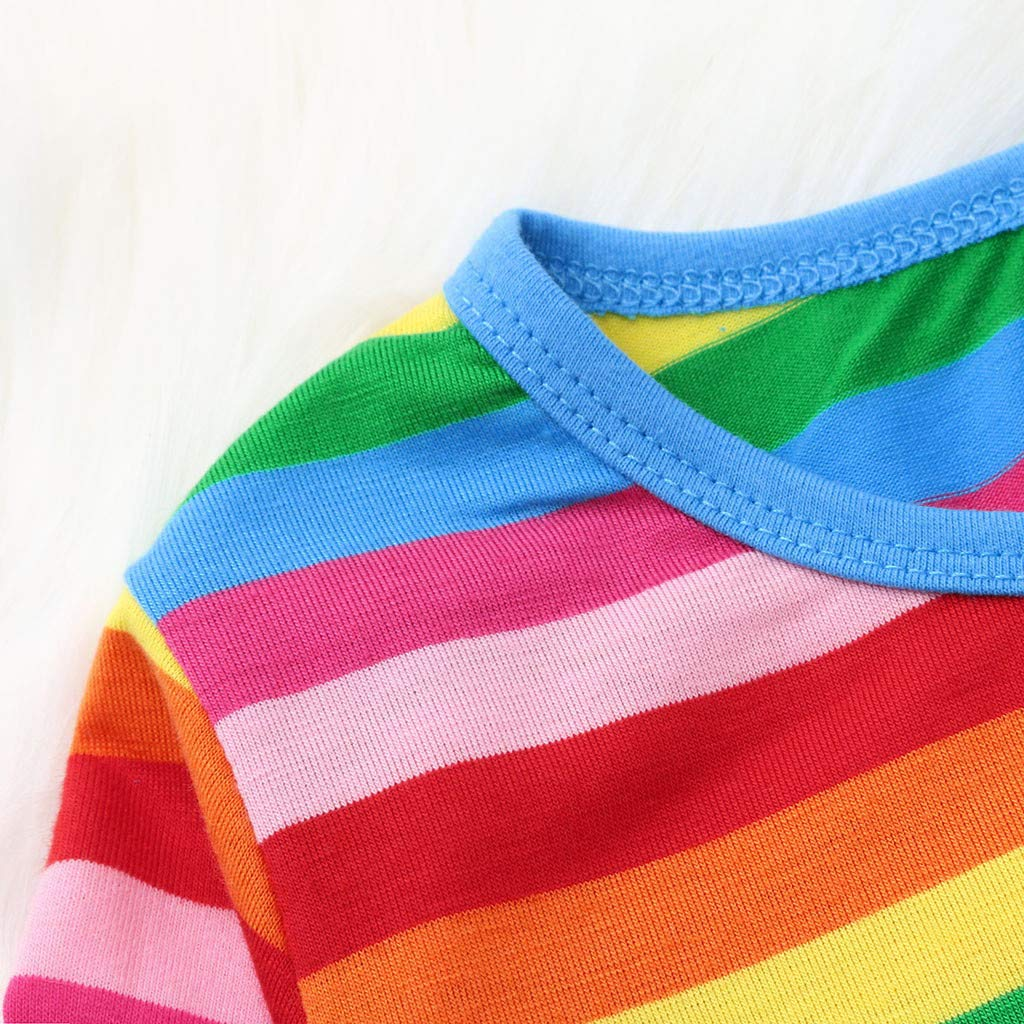 SUNBIBE Infant Toddle Baby Girls Cotton Cartoon Rainbow Striped Print Long Sleeve Casual Princess Kids Dress Clothing