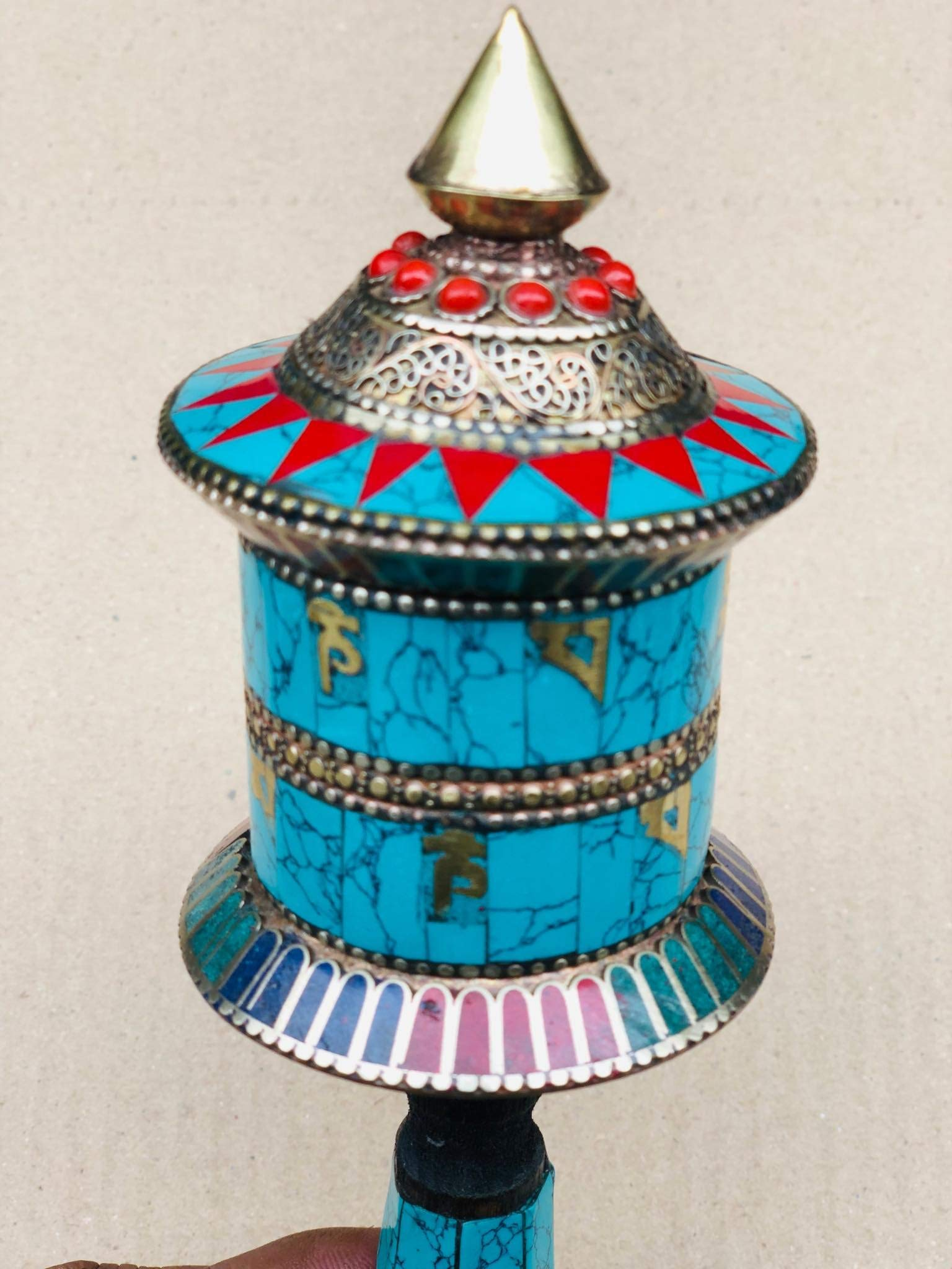 Buddhist Brass & Stone Set Hand-held Prayer Wheel - 9 Inch with Authentic Wooden Handle by Singing Bowl Nepal (Image #7)