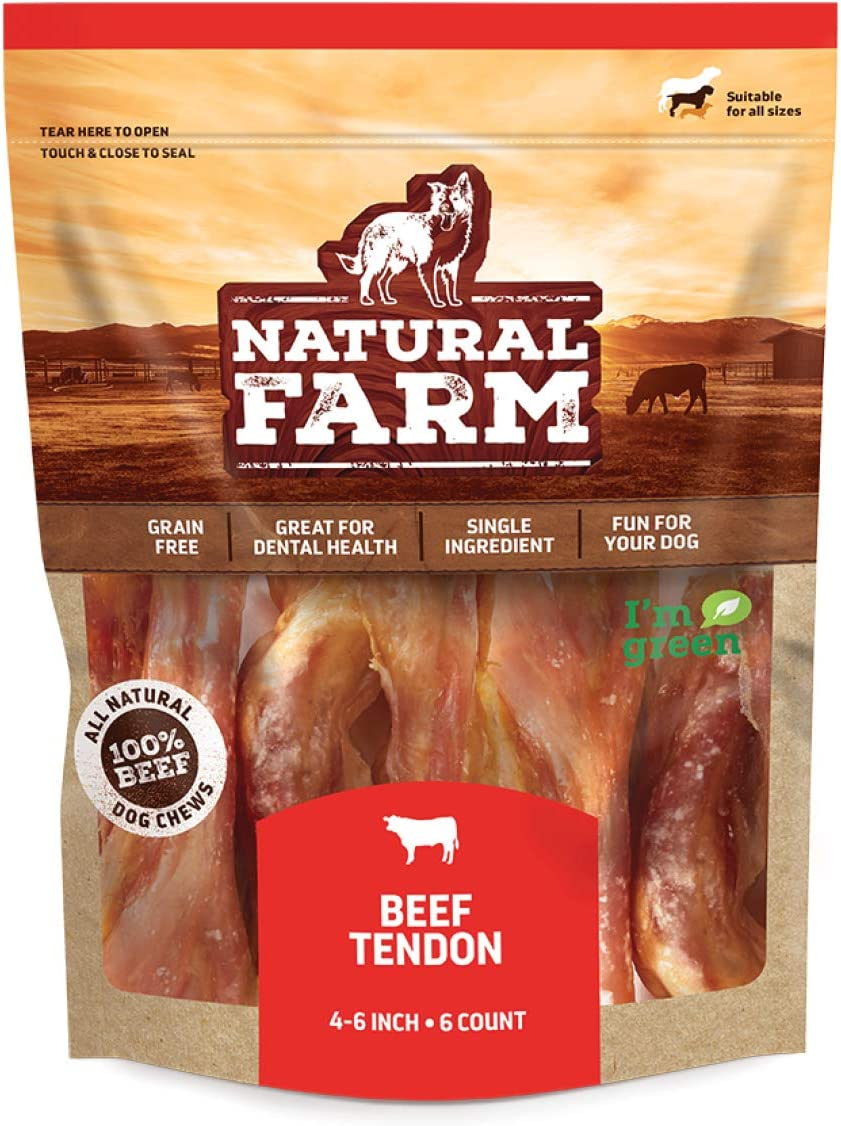 Natural Farm Thick Beef Tendon Chunks (6 Pack) for Dogs | 4 to 6 inch Long | All Natural Grass-Fed Beef | Promote Dental Health, Strong Joints and Ligaments | for Small, Medium, Large Dogs