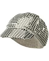 Women's Silver Sequined Newsboy Cabbie Costume Hat