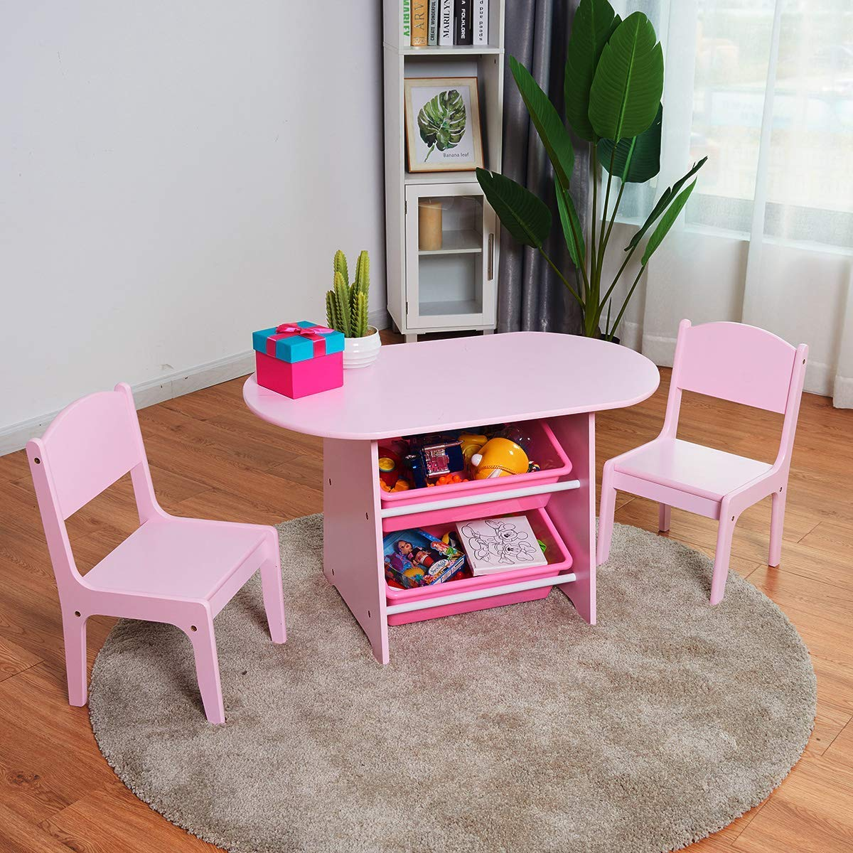 BABY JOY Kids Table and 2 Chair Set with 2 Pink Plastic Storage Bins, Lightweight Oval Round Desk for Dining Room Living Room Indoors & Outdoors Toddler Gift