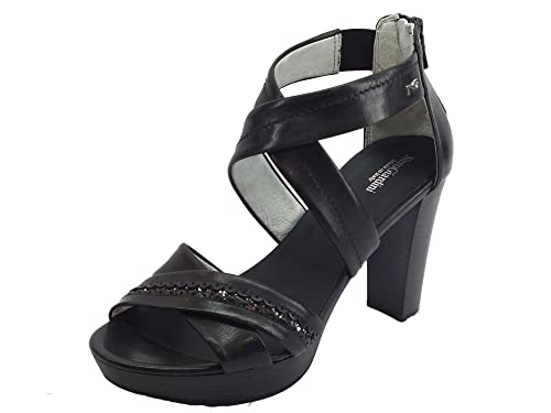 Sandali per donna NeroGiardini in pelle colore nero lampo posteriore