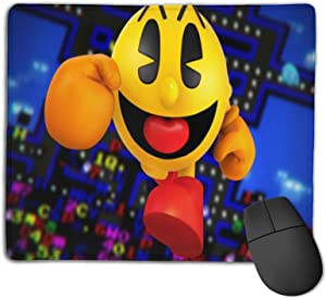 Jiaba Pac Man Mouse Pad with Stitched Edge, Non-Slip Rubber Base Mousepad for Laptop 7.1 X 8.6 Inch