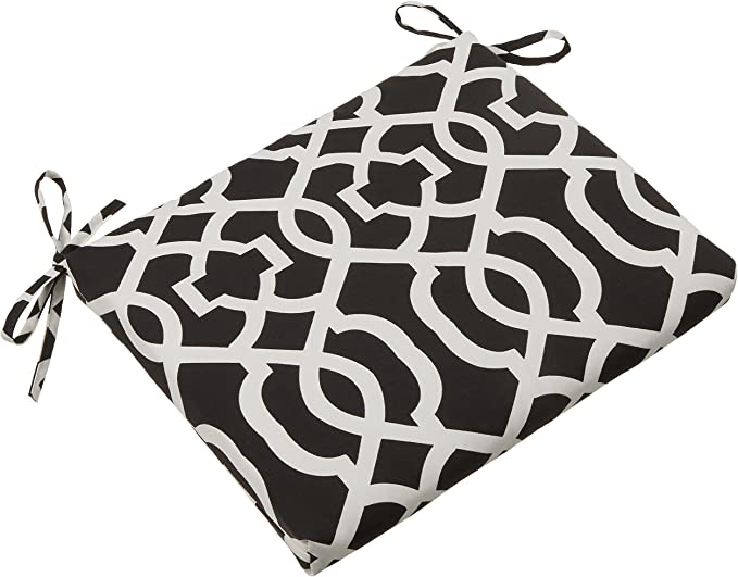 Pillow Perfect Outdoor//Indoor Cabana Stripe Square Corner Seat Cushions 2 Pack 18.5 x 16 Black