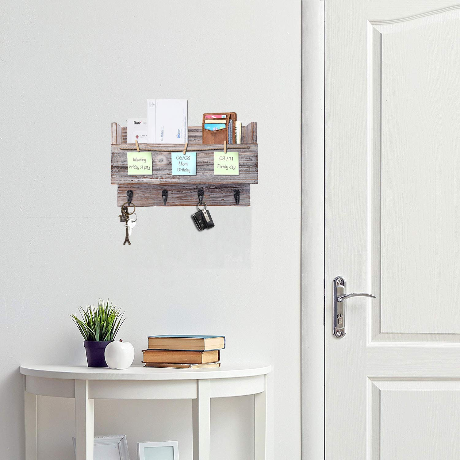 Kakivan Wood Wall Mounted 4 Key Holder Hooks with Memo Clips Entryway Organizer for Letter Mail Holder White Floating Shelves Storage for Coat Rack Magazine Holder and More.
