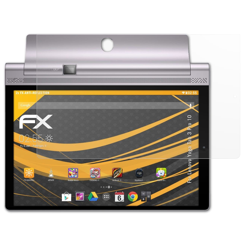 atFoliX Película Protectora para Lenovo Yoga Tab 3 Pro 10 Lámina Protectora de Pantalla, antirreflejos y amortiguadores FX Protector Película (2X)