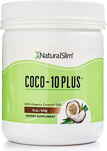 NaturalSlim Super Organic Coconut Oil with CoQ10, Formulated by Obesity and Metabolism Specialist to Improve Energy Levels and Assist with Weight Loss – Natural Fat Burner to Any Diet Attempt 16 Oz