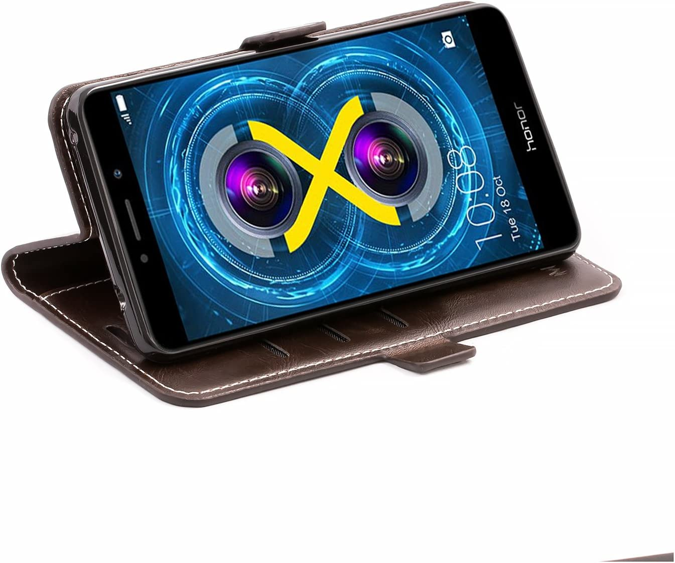 Coffee Braun Mulbess Huawei Honor 6X H/ülle Leder Schutzh/ülle Handytasche Handyh/ülle f/ür Huawei Honor 6X LTX adn Honor 6X Pro Klapph/ülle Flip Tasche