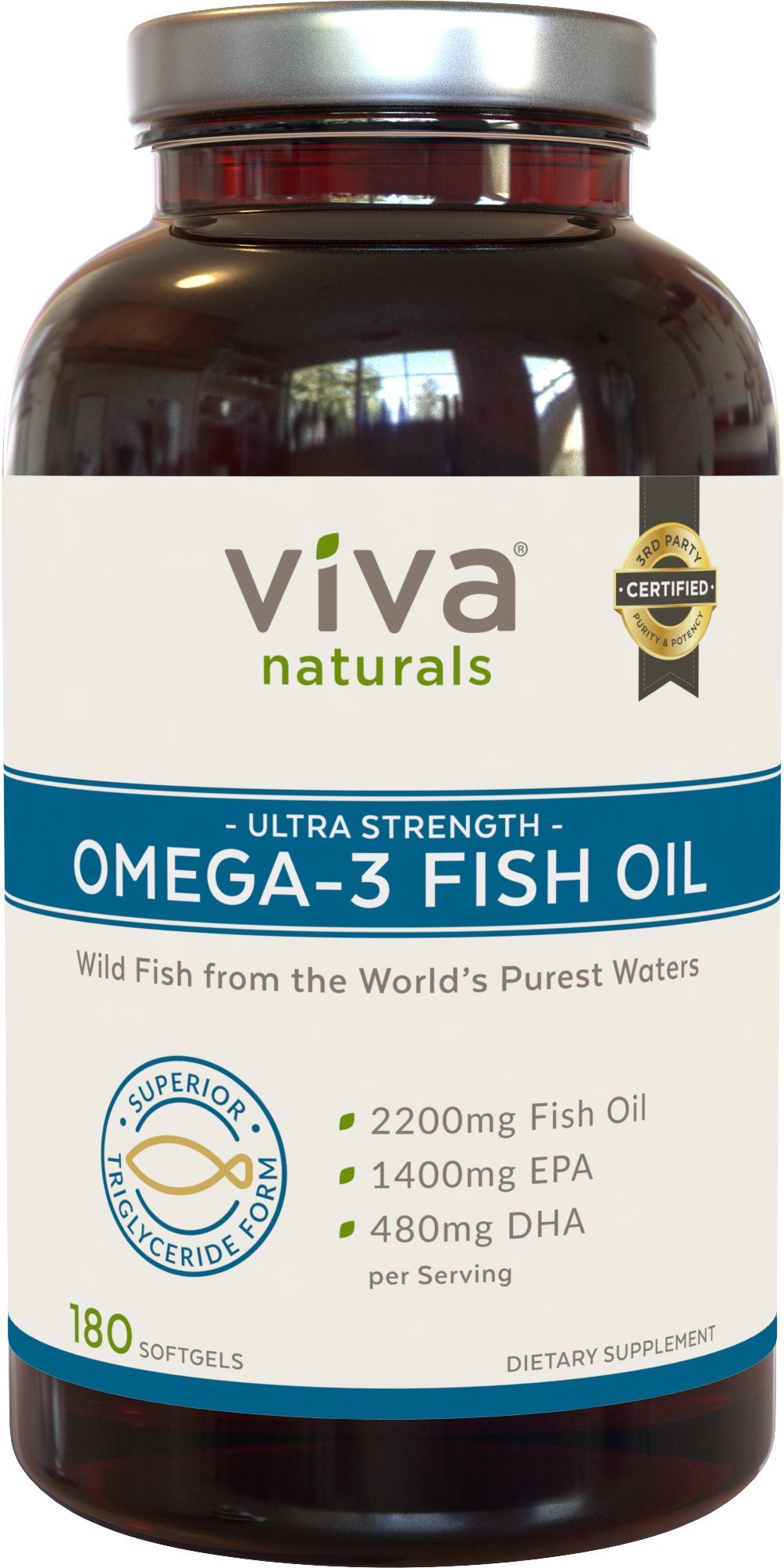galleon viva naturals omega 3 fish oil supplement 180