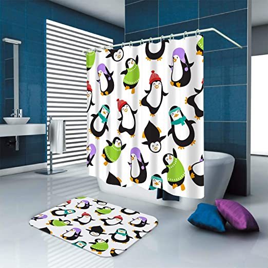 """Cute Penguins With Xmas Bathroom Waterproof Fabric Shower Curtain With Hooks 71/"""""""