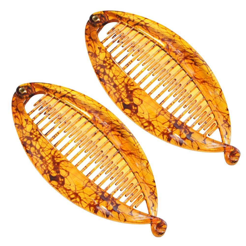 2pcs Resin Hair Clip Banana Comb Women Girls Cute Fat Fish Shape Hair Clip