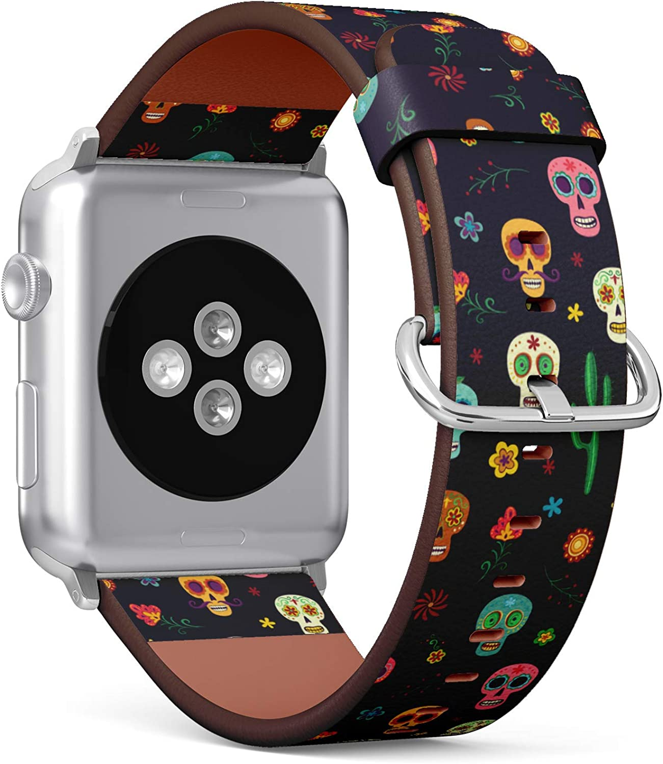 (Mexican Sugar Skull, Cactus and Flower on Wallpaper The Day of The Dead) Patterned Leather Wristband Strap for Apple Watch Series 4/3/2/1 gen,Replacement for iWatch 38mm / 40mm Bands