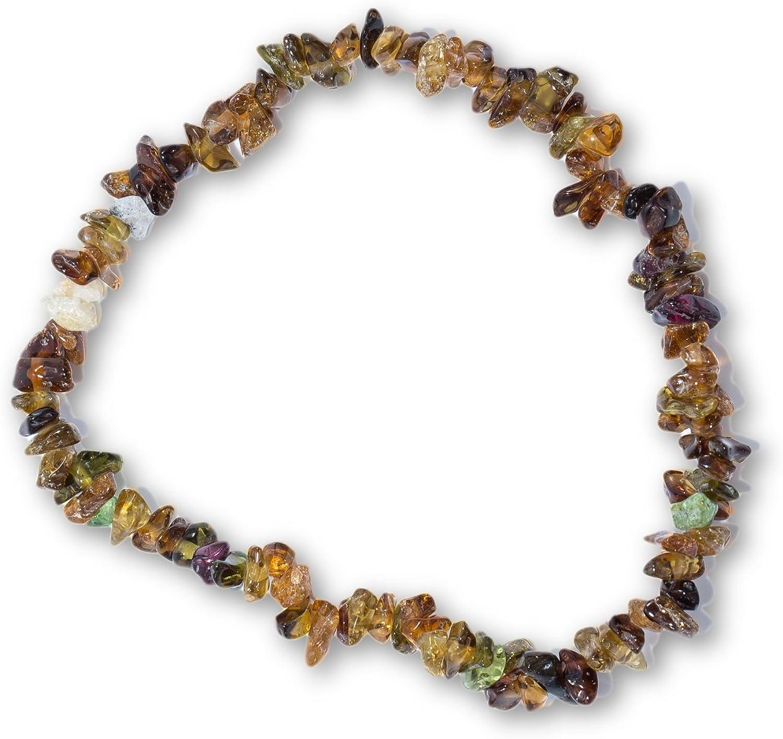 Tadd Tipo Minerals–Splitter marrón Brazalete de la Piedra Preciosa Natural turmalina Sobre elástico Nylon Hilos aufgezogen–Hecha a Mano