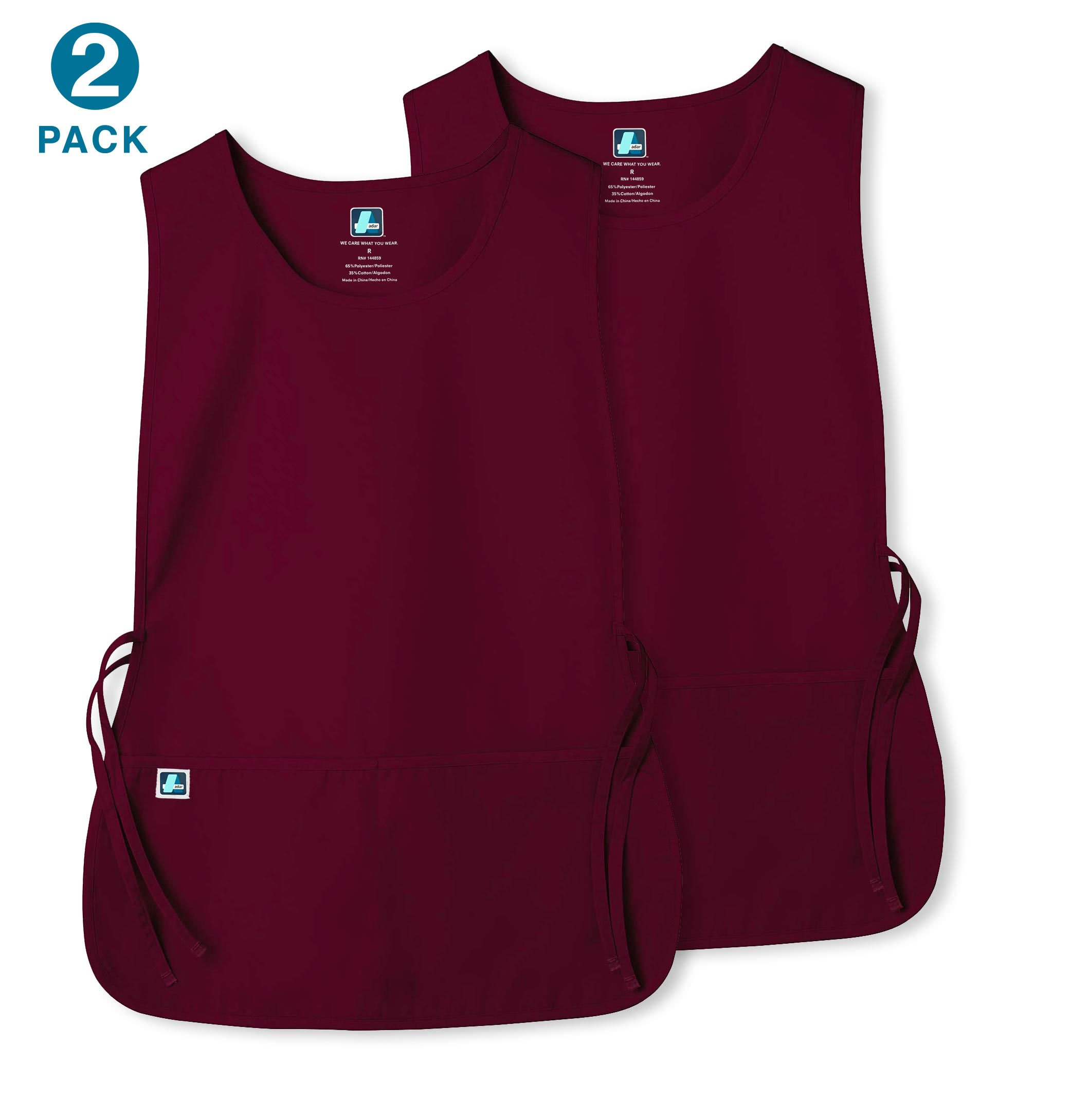 Unisex Cobbler Apron with 2 Pocket/Adjustable Ties - Available in 30 colors (2 Pack) - 7022 - Burgundy - X
