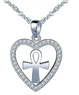 Yumilok Jewelry 925 Sterling Silver Cubic Zirconia Classic Infinity Symbol Cross Pendant Necklace for Women//Girls
