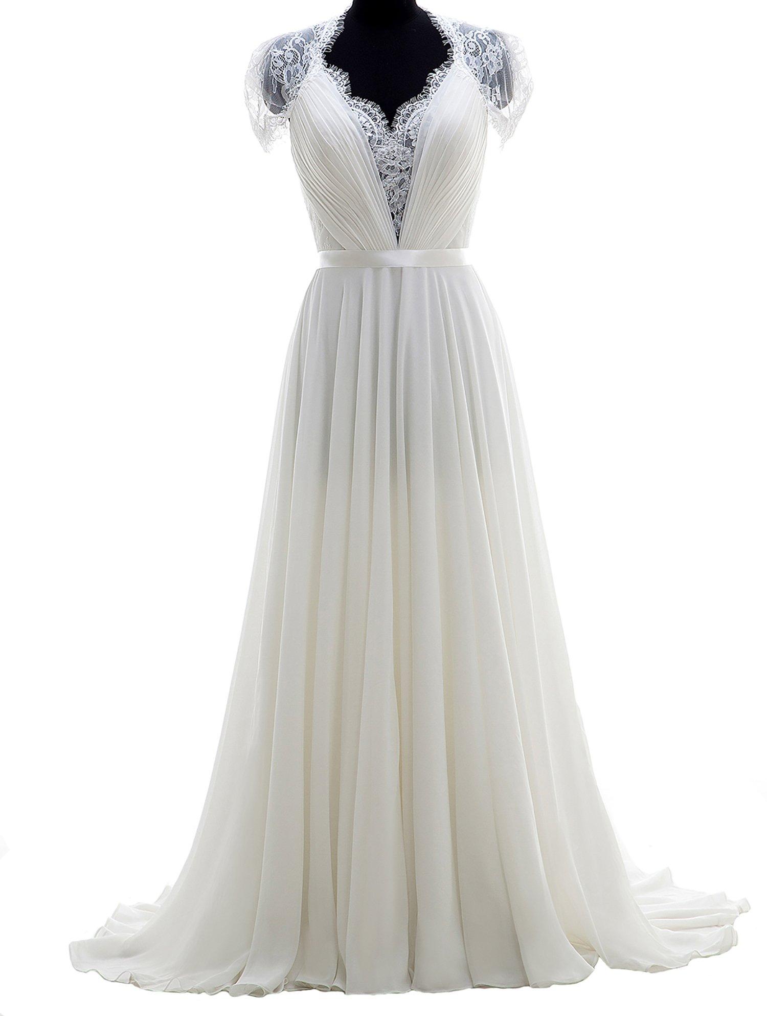 Cahayi Chiffon V-Neck Short Sleeve Boho Wedding Dress Bridal Gowns Prom Dress
