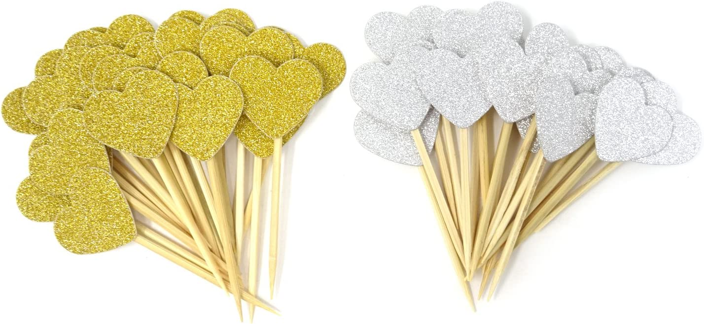 HONBAY 40PCS Glitter Heart Cupcake Toppers Birthday Cake Decoration Food Picks Wedding Party Baby Shower Supplies