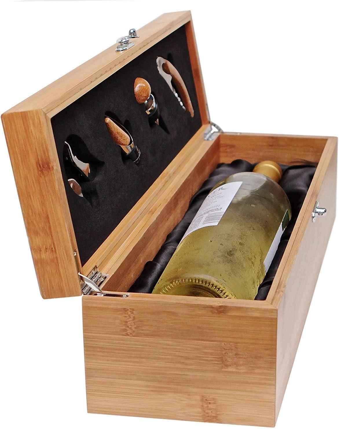 Case Elegance - Caja de Madera de Regalo para Botellas y Juego de Utensilios para Amantes del Vino
