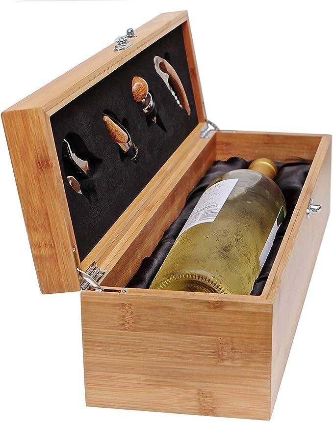 Compra Case Elegance - Caja de Madera de Regalo para Botellas y Juego de Utensilios para Amantes del Vino en Amazon.es