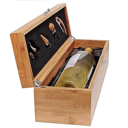 Case Elegance - Caja de Madera de Regalo para Botellas y Juego de Utensilios para Amantes