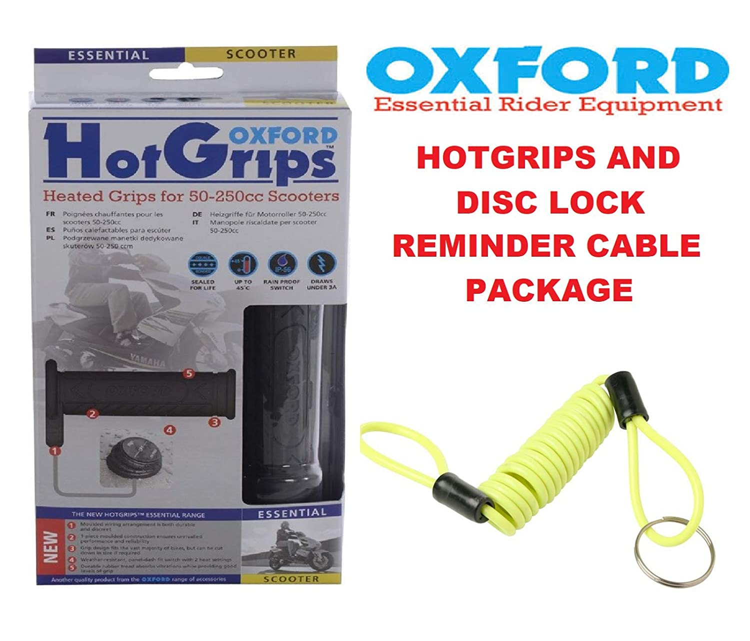 Oxford OF771 Heated Commuters Motorcycle Hot Grips & Disc Lock Reminder Roaduserdirect Motorcycle Packages