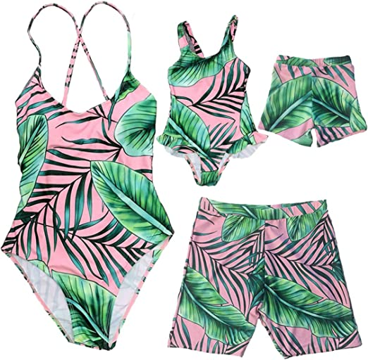Family Matching Swimsuit 2020 Newest One Piece Pineapple Printed Ruffles Monokini Off Shoulder Bathing Suit