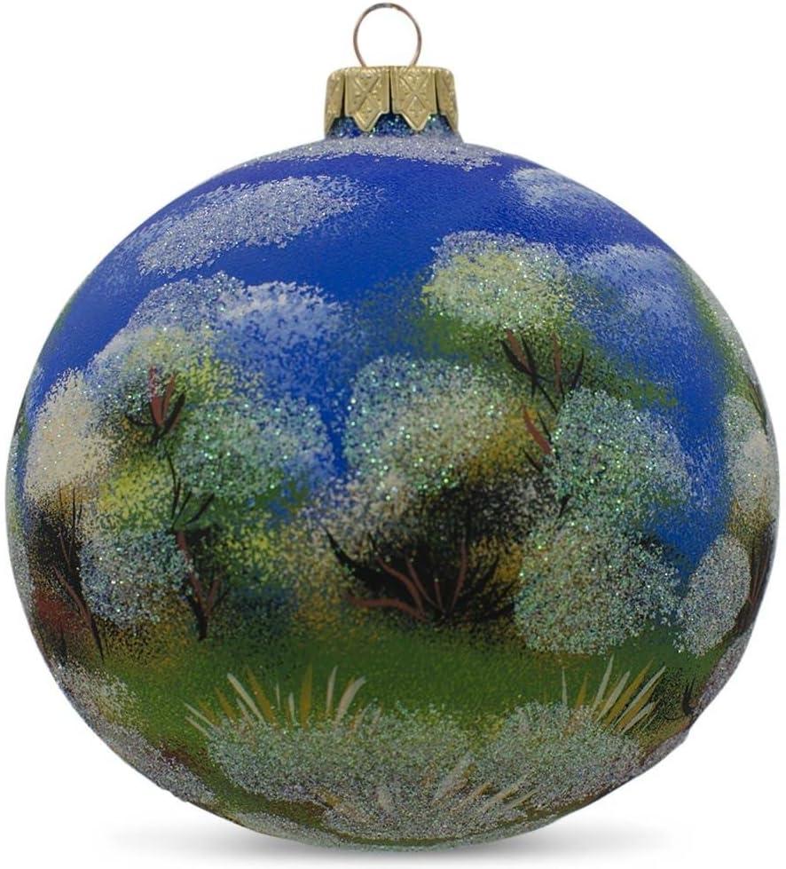 Bestpysanky Winter Church Scene Glass Ball Christmas Ornament 4 Inches Home Kitchen