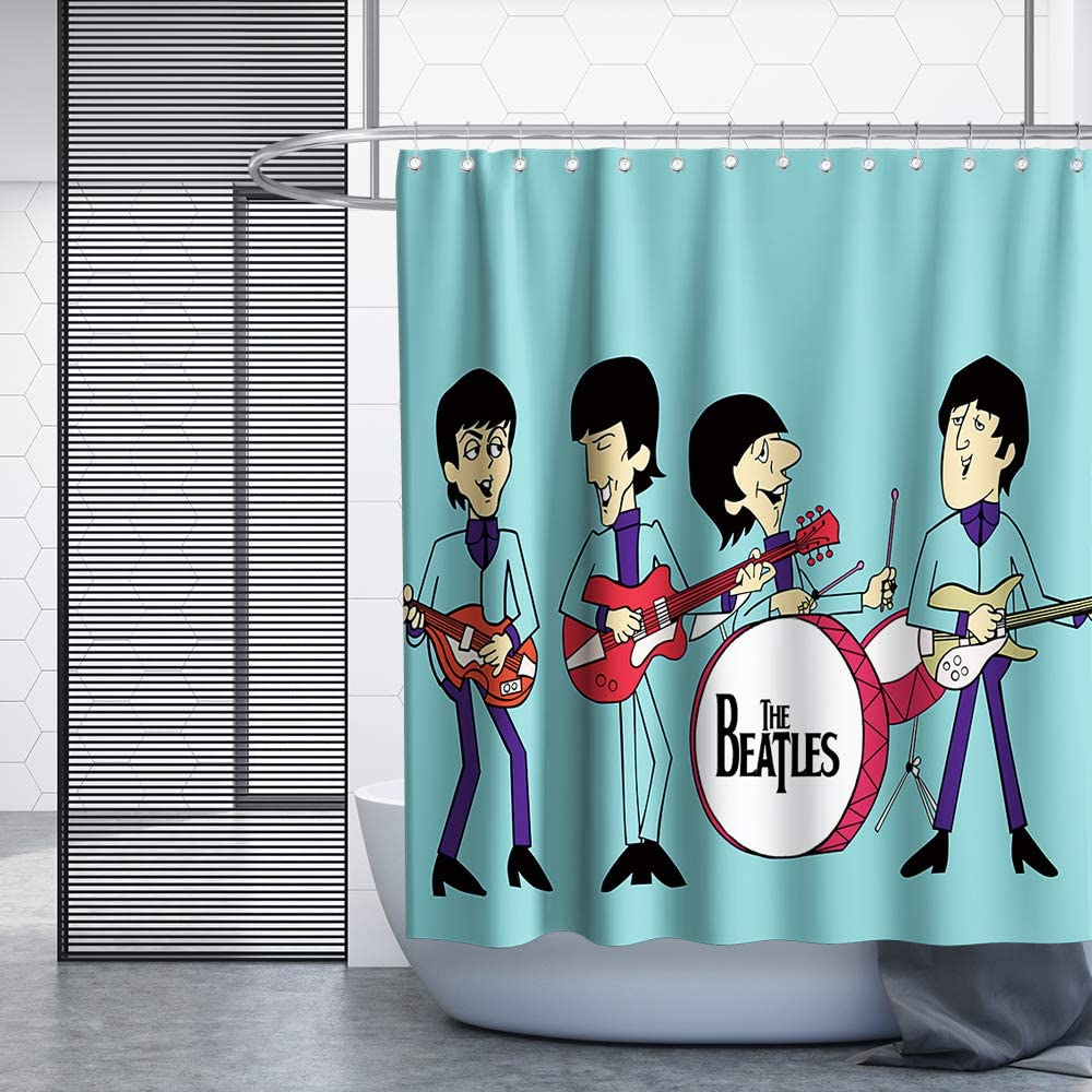 Shower Curtain Sets Cool Shower Curtain Cartoon England Beatles Theme Cloth Fabric Kids Bathroom Decor Sets With Hooks Waterproof Washable 72 X 72 Inches Red Black And White Home Elektroelement Com Mk