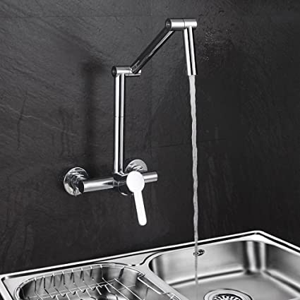Jiuzhuo Modern Wall Mount Hot Cold Articulating Kitchen Faucet 2