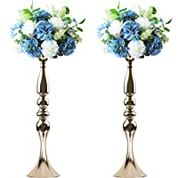 Tosnail 2 Pack 19.5″ Tall Gold Candelabra Candle Holder Vase for Wedding Flowers Centerpiece