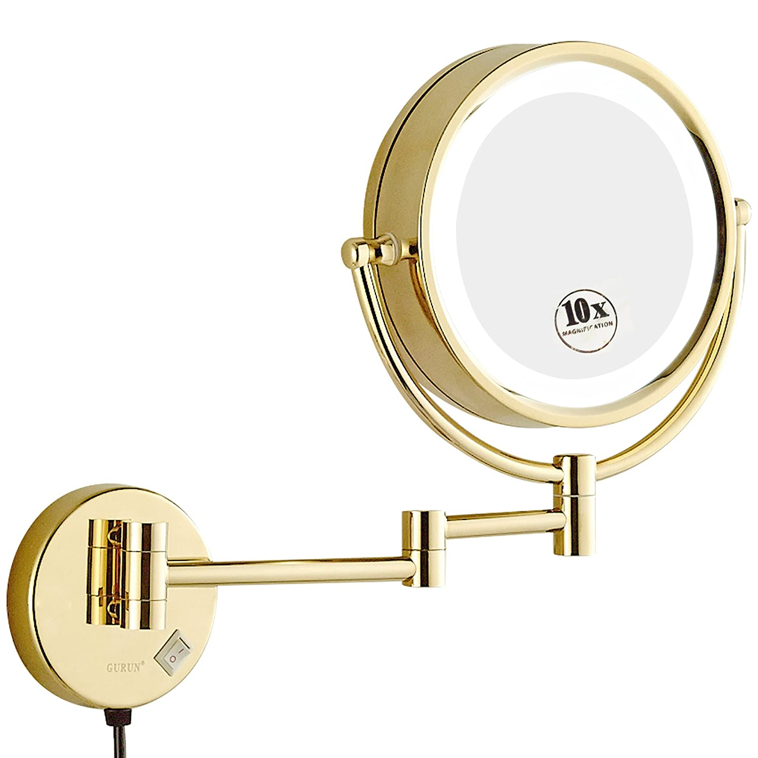 GURUN 8.5 Inch LED Lighted Wall Mount Makeup Mirror with 10x Magnification,Gold Finish M1809DJ(8.5in,10x)