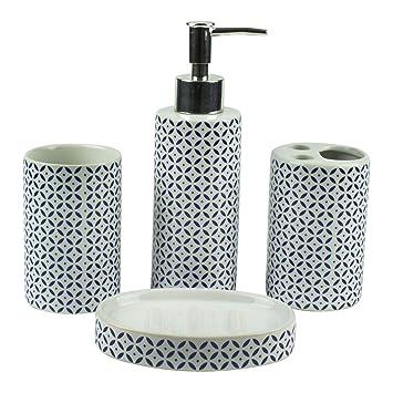 Mosa - Juego de Accesorios para baño (4 Piezas, cerámica, dispensador de jabón