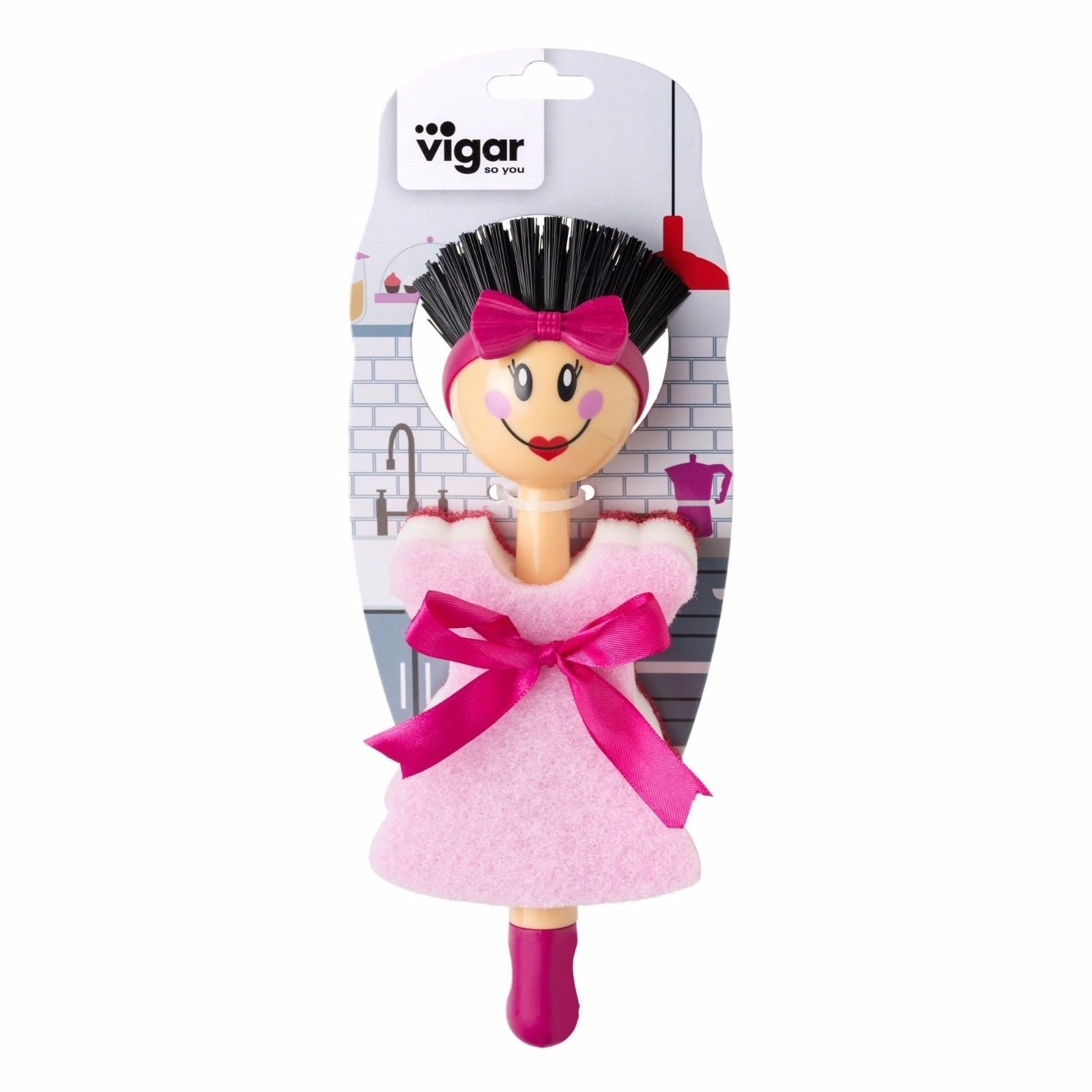 Vigar Dolls Beauties Dish Washing Brush w/ Double Use Sponge (Black)